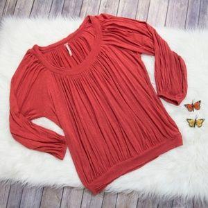 🏵Free People Reddish Orange Flowy Top Size XS🏵